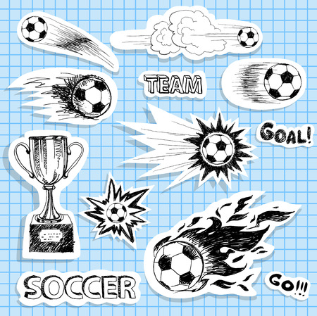soccer game: Set of sketch soccer stickers