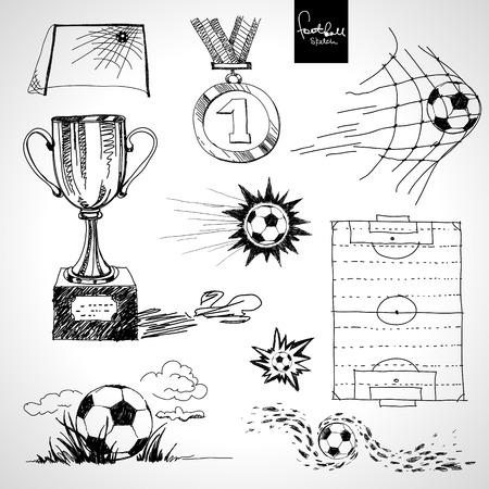 pelota de futbol: Bosquejo de los elementos de f�tbol Vectores