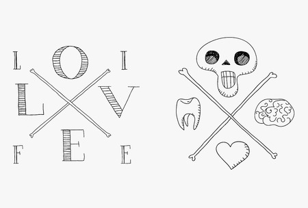 Skull with brain, tooth and heart Vector