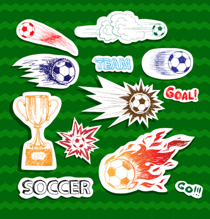 Set of sketch soccer stickers Vector