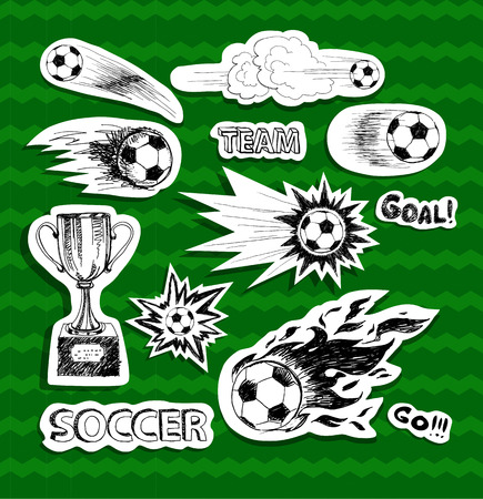 kickoff: Soccer stickers on green background Illustration