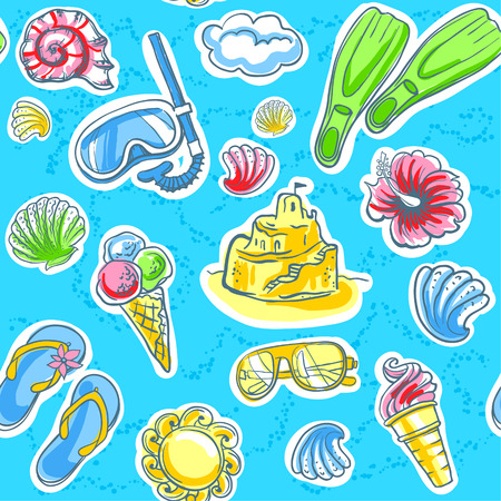 flipper: Summer seamless pattern of objects for vacation. Vector background. Illustration