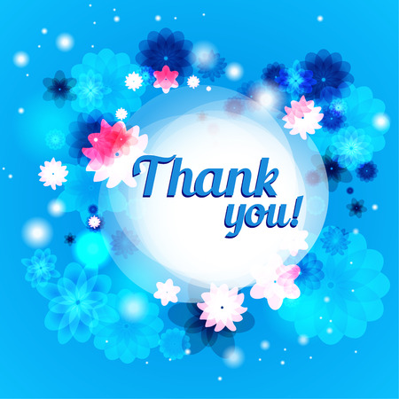 positive thought: Thank you floral background with place for text