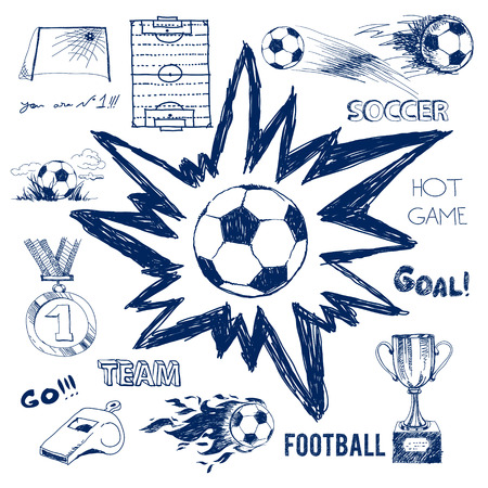 kickoff: Vector sketch of football elements