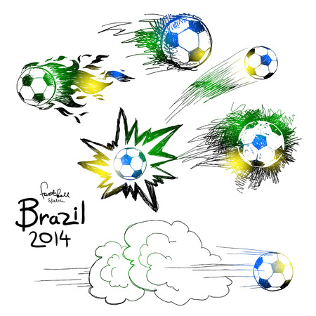 kickoff: Vector soccer ball icon set with color of brazilian flag