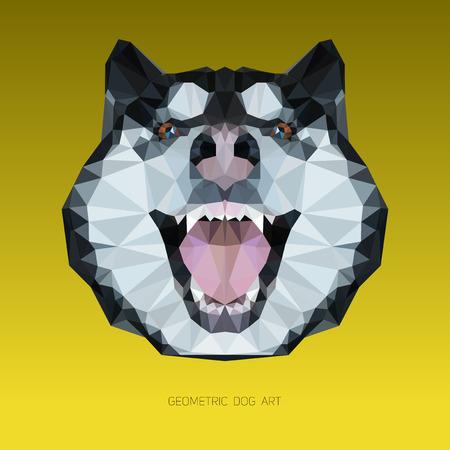 Geometric head of a dog with yellow background. Alaskan malamute