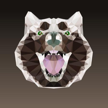 triangular eyes: Geometric negative head of a dog. Alaskan malamute Illustration