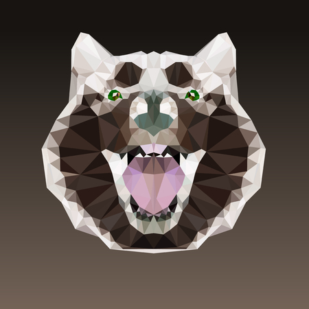 Alaskan malamute head vector with brown background