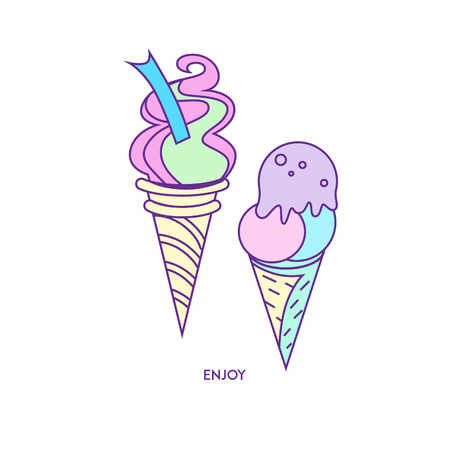 Hand-drawn icon ice-cream, for patches, pin, web, stickers, design cards, t-shirt and leaflets. Cartoon character