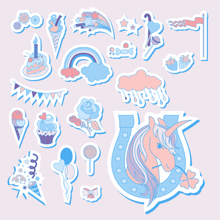 Hand drawn holiday icons with rainbow, unicorn, cloud and cake