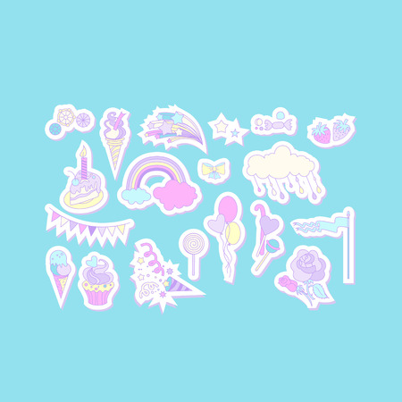 Unicorn multicolor stickers with cake, sweets, ice-cream, cloud and flag