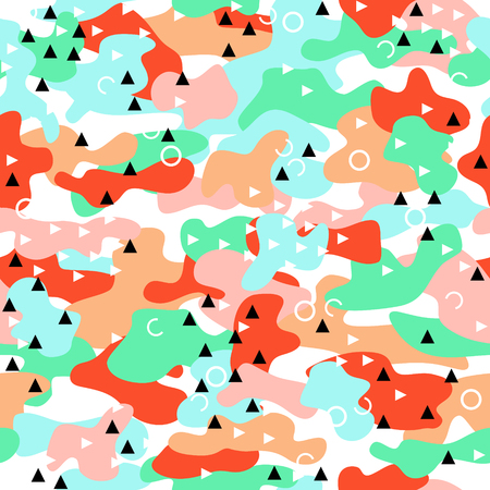 Camouflage seamless pattern in a pink, blue, green, white and red colors with triangles and circles. Illustration