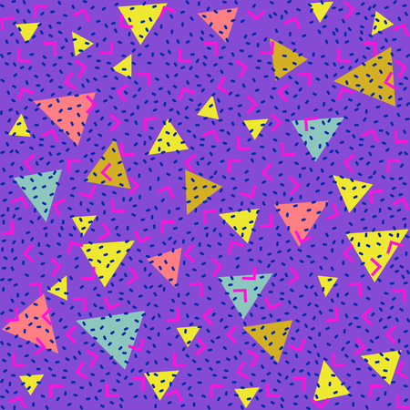 memphis: Abstract pattern blue background with red, yellow, blue triangles and pink angles and points.
