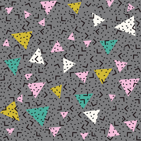 Abstract pattern background with pink, white and green triangles, black angles and points.