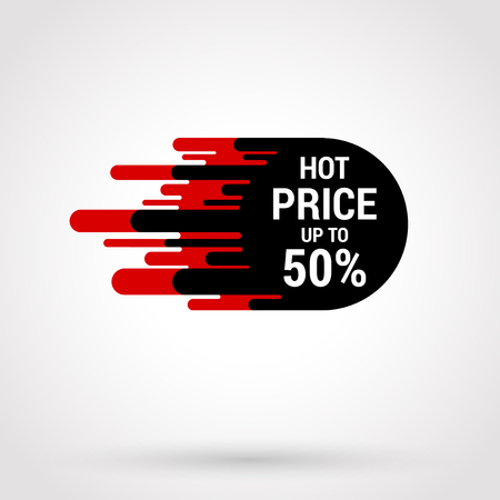 Sale sticker with hand drawn elements in black and red colors on white background. Hot price. Stok Fotoğraf
