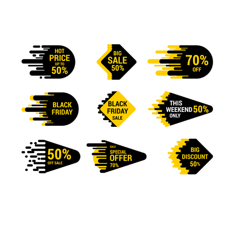Sale sticker set with hand drawn elements in yellow and black colors on white background. Hot price and discount Illustration