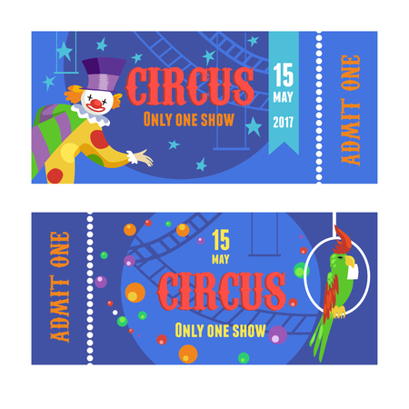 Circus ticket with clown and parrot vector set Ilustrace