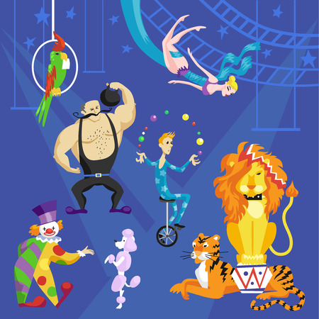 Circus card with acrobat on bicycle, clown, lion, parrot and tiger vector set