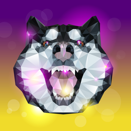 Geometric head of husky dog with bright background