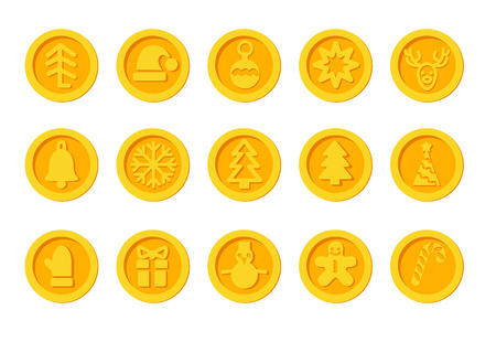 Santa Claus crypto currency coins Christmas winter new year holiday golden set Happy day Illustration