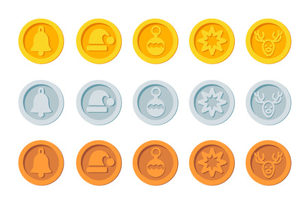 Crypto currency Christmas winter new year holiday coins golden, silver and bronze vector set Happy day