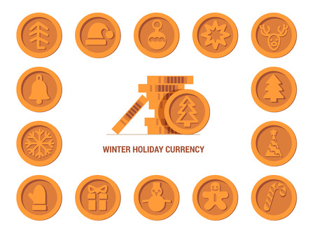 Santa Claus crypto currency coins Christmas winter new year holiday bronze set Happy day