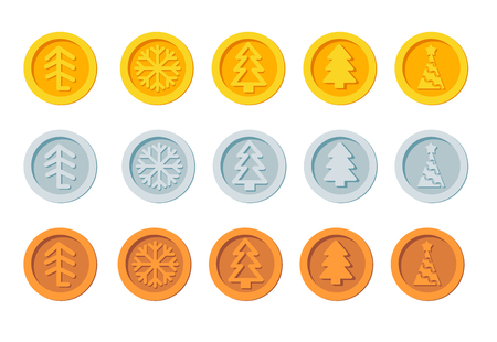 Cryptocurrency logo set for Christmas Fairs and Markets. Santa Claus crypto currency Christmas winter new year holiday coins golden, silver and bronze vector set Ilustrace