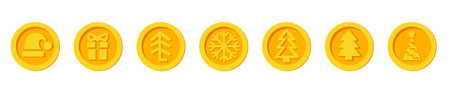 Santa Claus crypto currency Christmas winter new year holiday coins golden vector set for Christmas Fairs and Markets