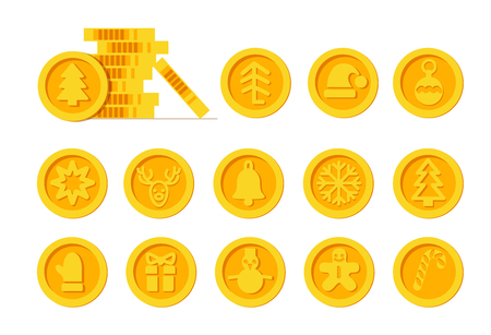 Christmas Cryptocurrency logo set - Santa Claus hat, bell, gingerbread man, ball, deer, snowman, gift, mitten. Golden coins with winter new year holiday Cryptocurrency symbol