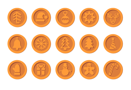 Christmas Cryptocurrency logo set - Santa Claus hat, bell, gingerbread man, ball, deer, snowman, gift, mitten. Bronze coins with winter new year holiday Crypto currency money symbol