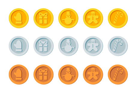 Cryptocurrency logo set for Christmas Fairs and Markets. Santa crypto currency Christmas winter new year holiday coins golden, silver and bronze vector set Ilustrace