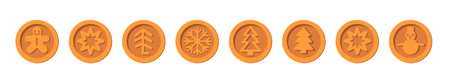 Santa Claus crypto currency Christmas winter new year holiday coins bronze vector set for Christmas Fairs and Markets