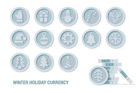 Christmas Cryptocurrency logo set - Santa Claus hat, bell, gingerbread man, ball, deer, snowman, gift, mitten. Silver coins with winter new year holiday Cryptocurrency symbol Ilustrace