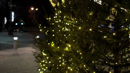 Magic yellow blurry lights of garlands on Christmas trees at fair Outdoor