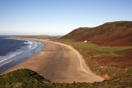 View of Rhossili bay on the Gower peninsular photo