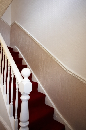 Stairs in a traditional terraced house Stock Photo