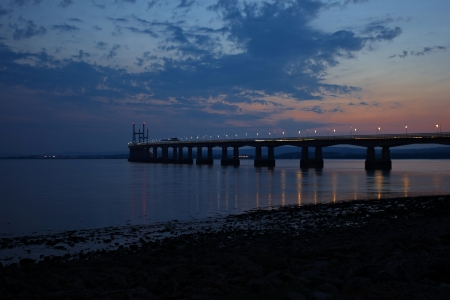 severn: Dusk at the Severn Bridge, Second Severn Crossing in July with sunset sky and street lights