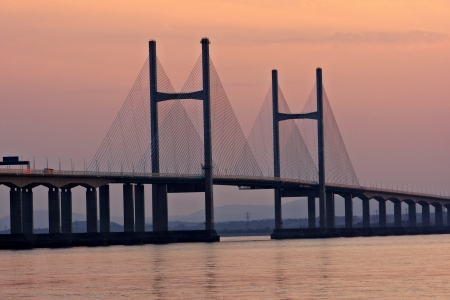 severn: Close shot of Second Severn Crossing bridge at sunset in July Stock Photo
