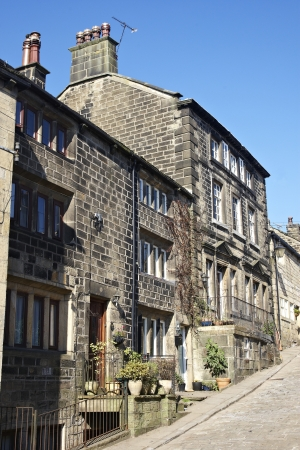 weavers: Traditional weavers cottages on a cobbled street in Heptonstall, Yorkshire Editorial