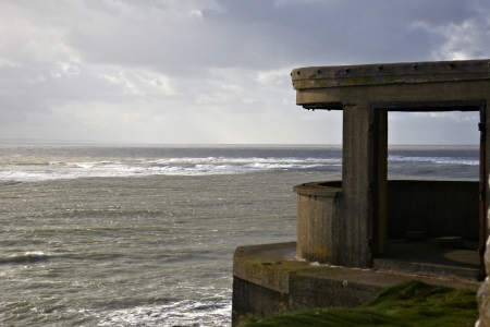 pill box: Pill box from World War 2 sited on Lighthouse Island at Mumbles near Swansea Stock Photo