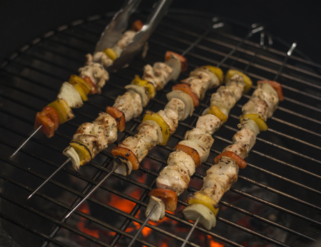 Skewers on the Grill Banco de Imagens
