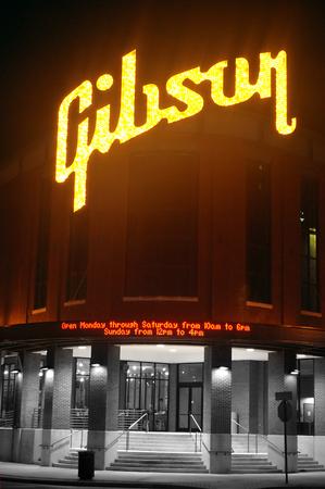 gibson: Gibson Neon Sign Editorial