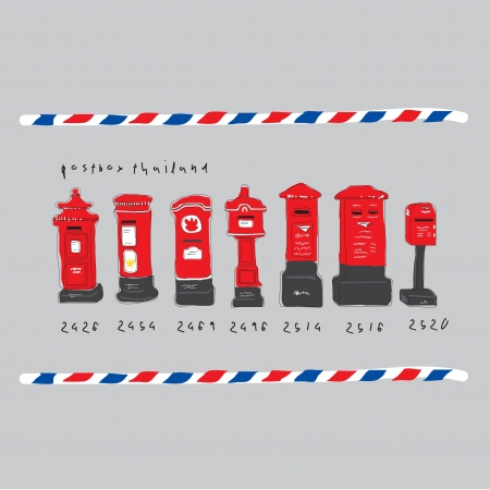 pillar box: classic post box in thailand Illustration