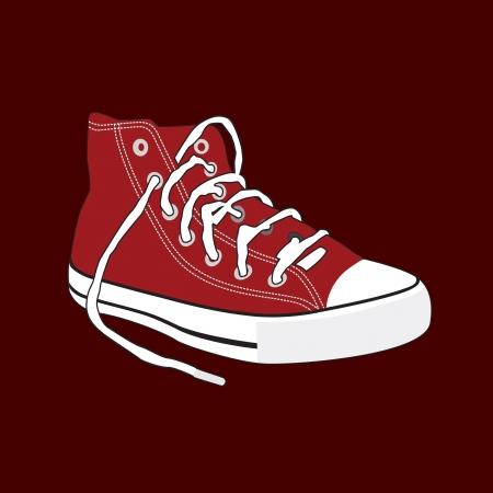 running shoe: scarpa, un paio di vecchie scarpe da ginnastica Vettoriali