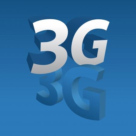 3g: 3G 3d sobre fondo azul