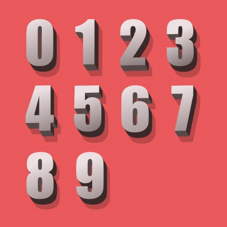 numbers icon: Alphabet numbers retro colour style  Vector illustration