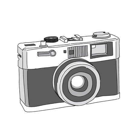 photo camera: Hand Drawn of Vector Camera