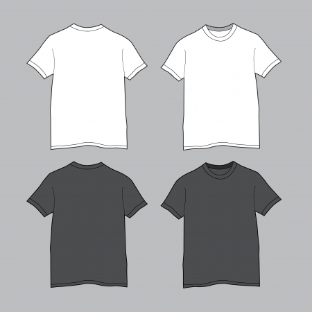 Front and back views of blank t-shirt  Illustration