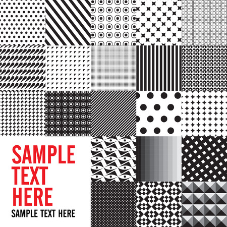 Background Abstract black and white seamless patterns set, vector