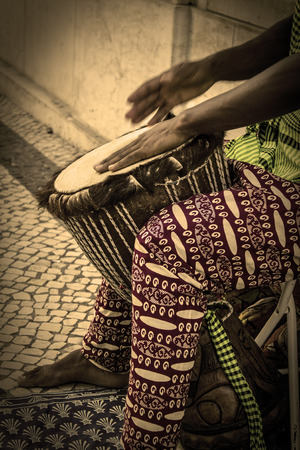 African tribal sounds and rhythms in sepia effect Stok Fotoğraf